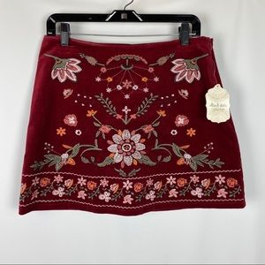 NWT Altar'd State L Skirt Corduroy Embroidered